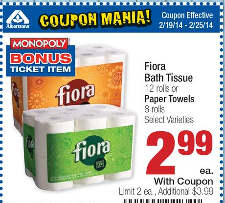 Fiora Bath Tissue Or Paper Towels At Albertsons This Week - Bathroom tissue on sale