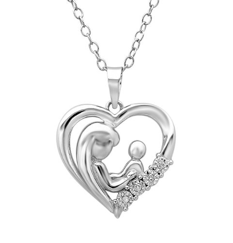 Mother child diamond heart pendant necklace in sterling silver aloadofball Image collections