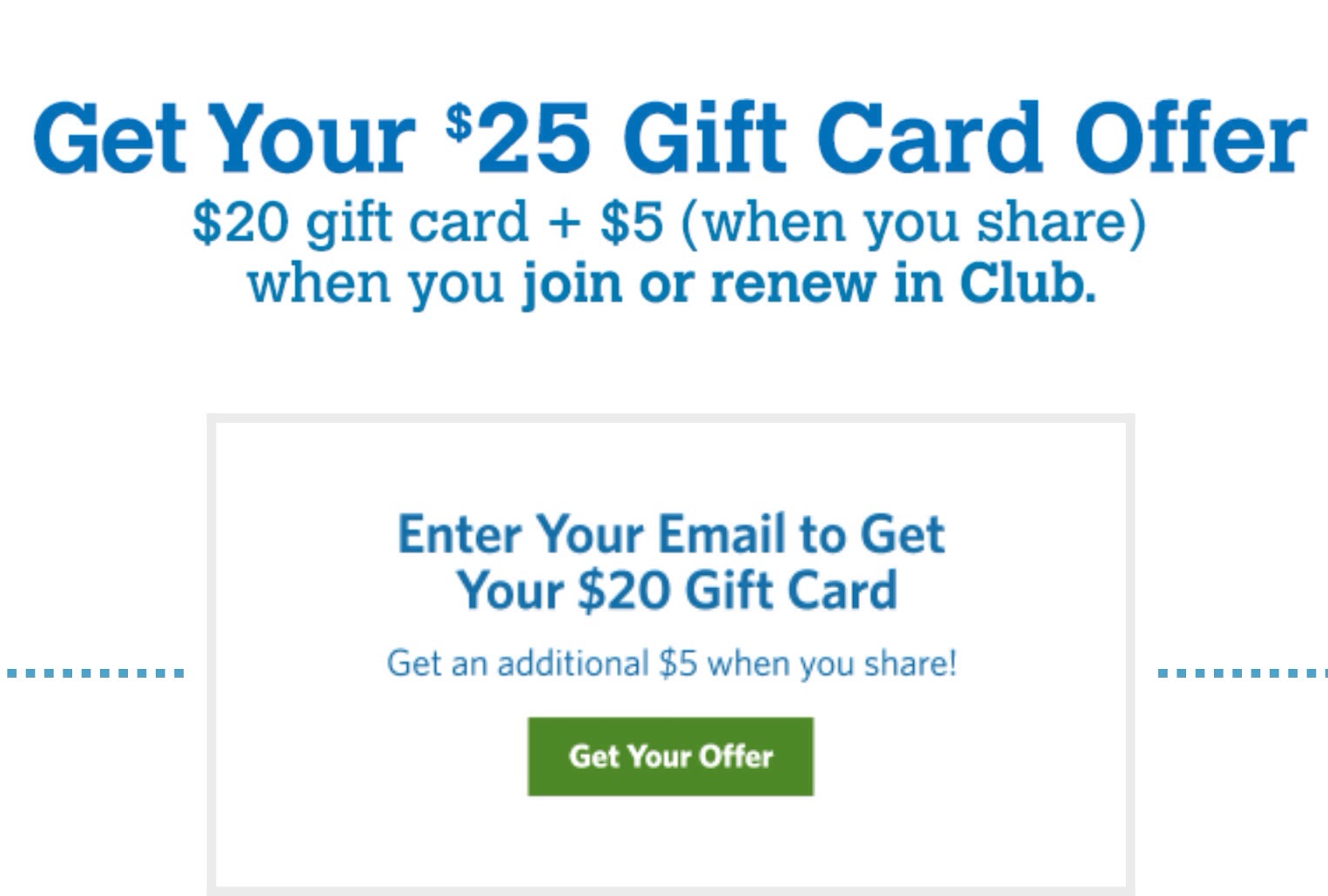 free 25 gift card when you sign up or renew your sam s club