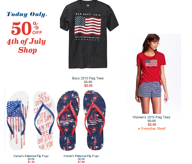 Today Only Score 50 Off 4th Of July Apparel At Old Navy 2 50