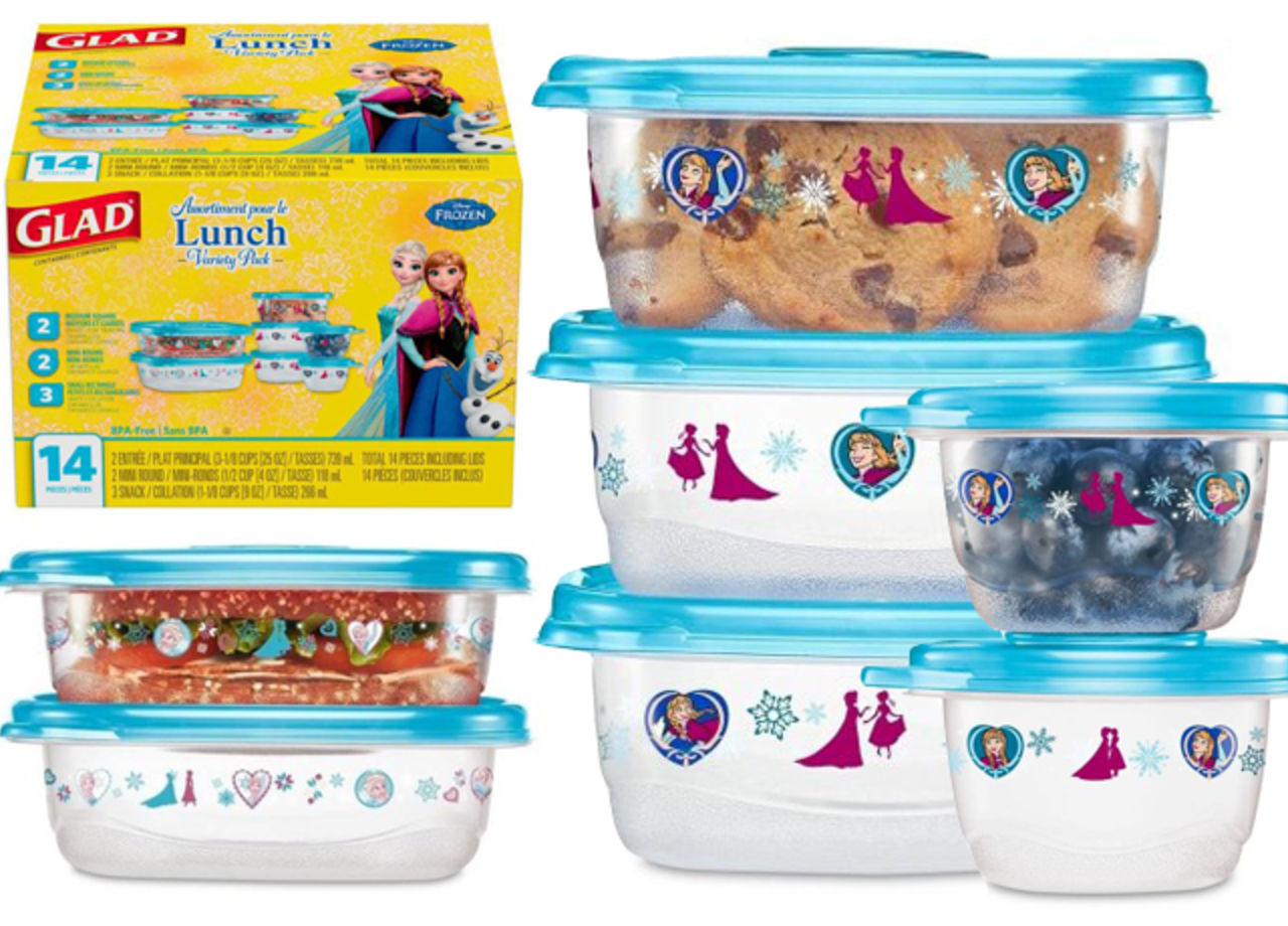 Glad Lunch Variety Pack Disney Frozen Food Storage Containers 14 pc
