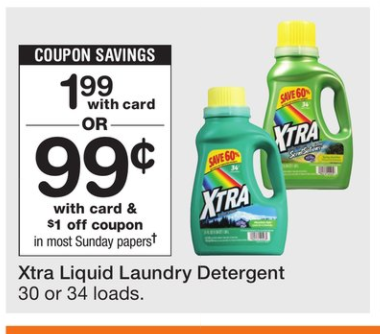 photograph about Xtra Laundry Detergent Printable Coupon named Walgreens And Walmart Xtra Liquid Laundry Detergent 30 or
