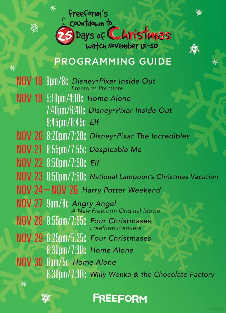 i may or may not have been playing christmas music since last week freeforms 25 days of christmas countdown schedule has been released - Abc Family 25 Days Of Christmas Schedule