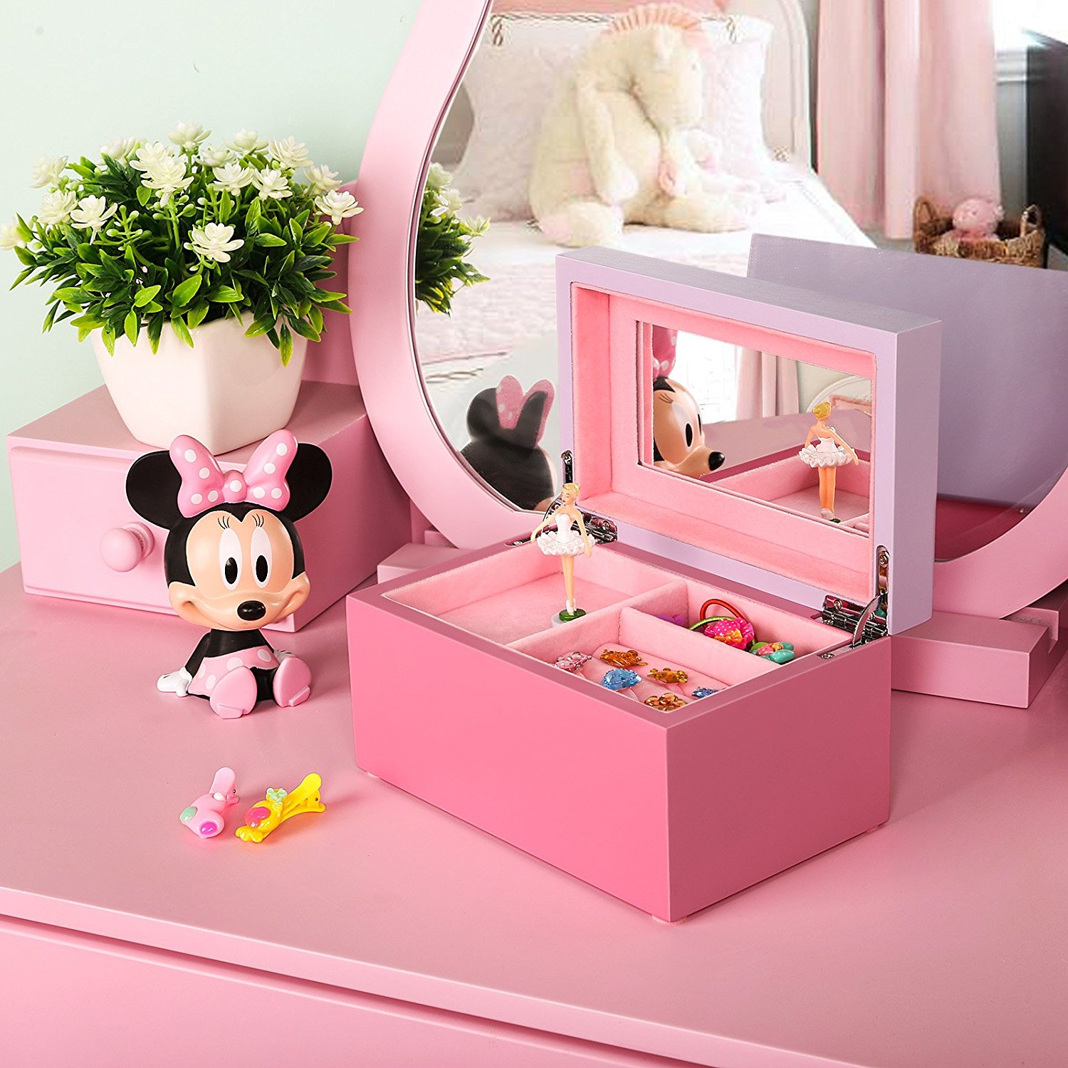 Songmics Girls Music Jewelry Box Pink Wooden Case With Ballerina And