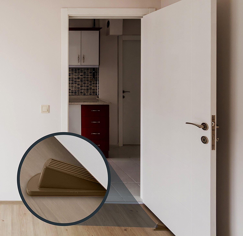 Home Premium Door Stopper, Heavy Duty Flexible Rubber Door Stop Wedge (4  Pack, Brown) Only $8.99 SHIPPED!