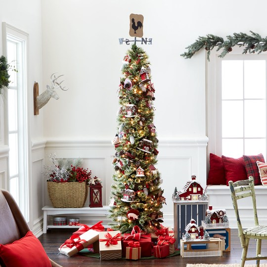 Ashland Christmas Trees.7ft Pre Lit Pencil Artificial Christmas Tree Clear Lights